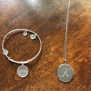 K necklace and K alex and ani bracelet